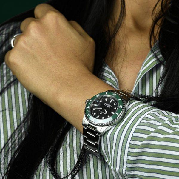Steinhart Ocean One Green Ceramic Lady wrist shot