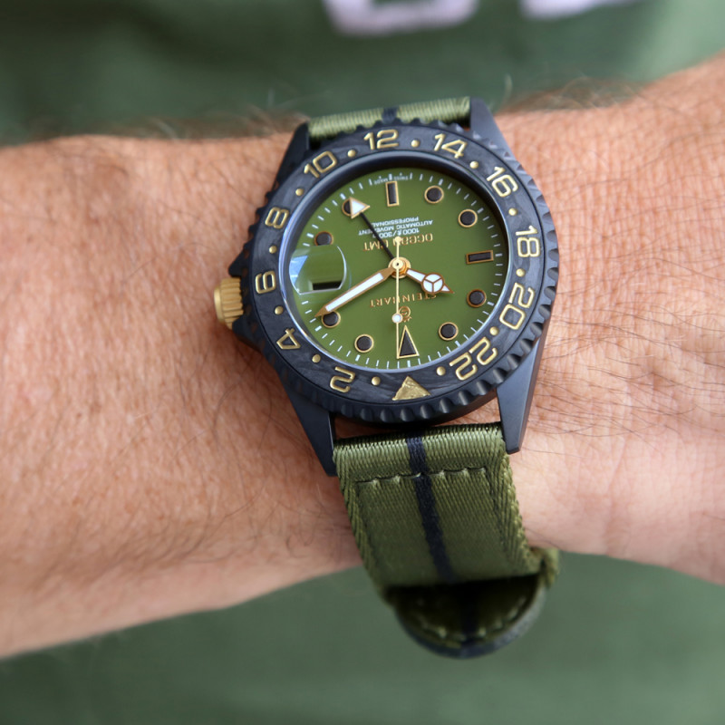 Steinhart Ocean One GMT black MILITARY khaki 42mm Wrist Shot